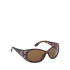 Beach Collection - Brown tortoise shell diamante wrap-around sunglasses