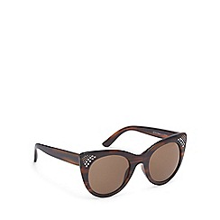 Beach Collection - Brown tortoise shell diamante cat eye sunglasses