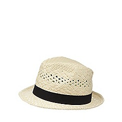 Beach Collection - Natural open weave fedora hat
