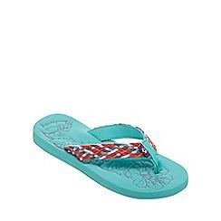 Mantaray - Aqua floral print flip flops