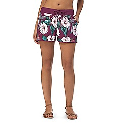 Mantaray - Purple tropical print board shorts