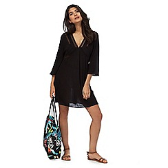 Butterfly by Matthew Williamson - Black embroidered mesh detail kaftan
