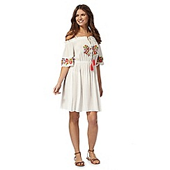 Floozie by Frost French - White embroidered shoulder dress