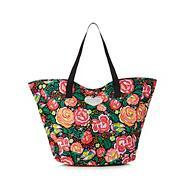 Black floral print tote bag