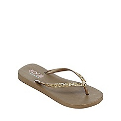 Floozie by Frost French - Gold glitter flip flops