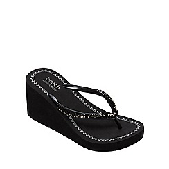 Beach Collection - Black high wedge heel flip flops