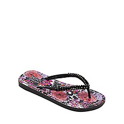 Beach Collection - Pink floral print flip flops
