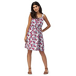 Mantaray - Multi-coloured floral print knee length beach dress
