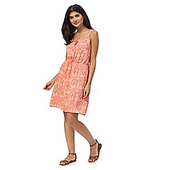 Mantaray - Orange leaf print knee length beach dress