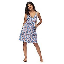 Mantaray - Blue floral print v-neck knee length beach dress