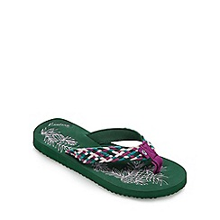 Mantaray - Khaki pineapple print flip flops
