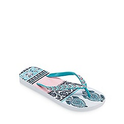 Mantaray - Multi-coloured Aztec print flip flops