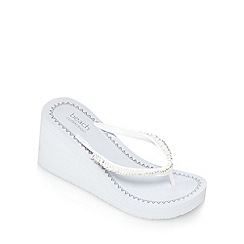 Beach Collection - White embellished wedge sandals