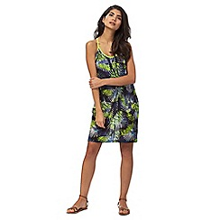 Red Herring - Navy and green tropical print dress
