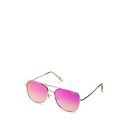 Quay Australia - Gold squared aviator sunglasses