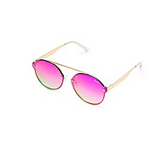 Quay Australia - Gold 'Camden Heights' brow-bar oversized round sunglasses