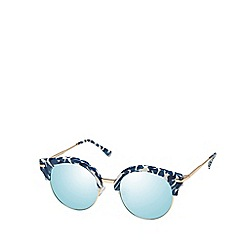 Seafolly - Blue cat eye sunglasses with mirror lenses