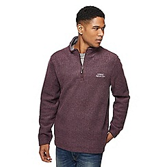 Weird Fish - Wine red textured zip funnel neck sweatshirt