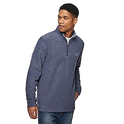 Weird Fish - Navy textured zip funnel neck sweatshirt