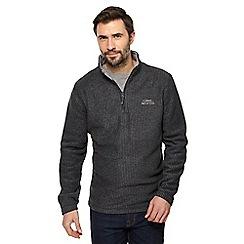 Weird Fish - Dark grey textured zip funnel neck sweatshirt