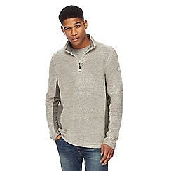 Weird Fish - Natural panelled zip neck sweatshirt