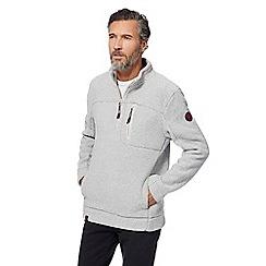 Weird Fish - Grey textured zip funnel neck sweater