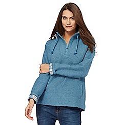 Weird Fish - Blue knitted zip funnel neck sweater