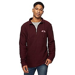 Weird Fish - Wine red waffle knit zip neck sweatshirt