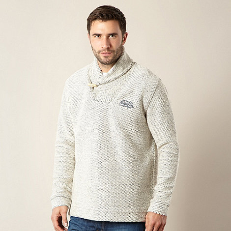 Weird Fish - Natural Macaroni textured shawl neck jumper
