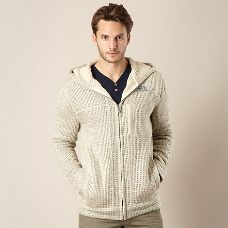Weird Fish - Natural waffle knitted zip through hoodie