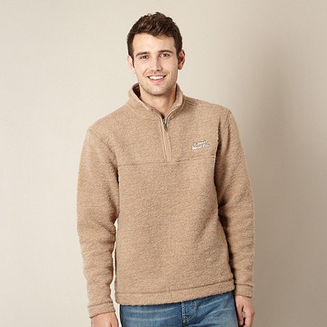 Weird Fish - Big and tall beige funnel neck fleece top