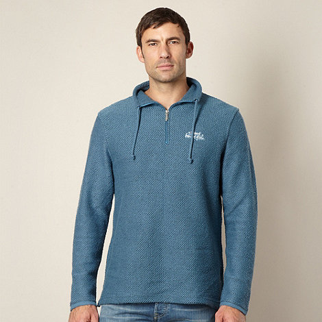 Weird Fish - Dark turquoise zip neck jumper