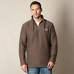 Weird Fish - Big and tall brown textured funnel neck sweatshirt