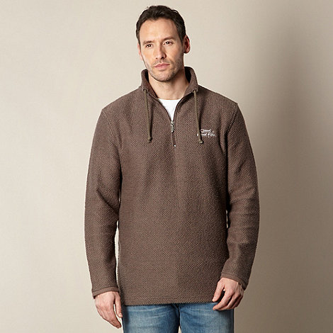 Weird Fish - Brown Macaroni textured funnel neck sweatshirt
