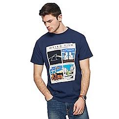 Weird Fish - Big and tall navy 'shrimp floyd classics' printed t-shirt