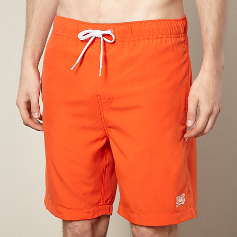 Animal - Orange striped logo swim shorts