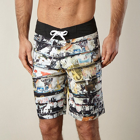 Animal - Black horizontal panel photo print swim shorts