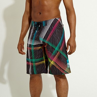 Black check board shorts