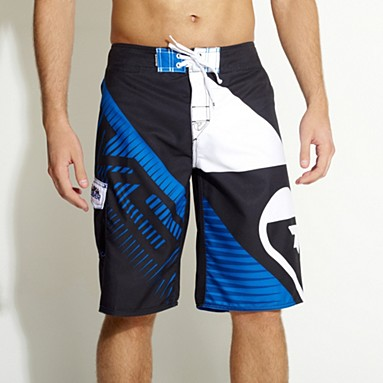 Navy logo print board shorts