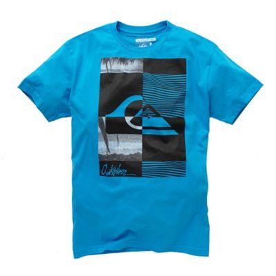 Bright blue large front print t-shirt