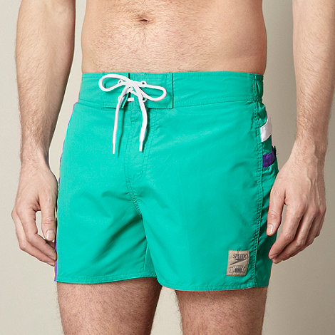 Speedo - Green contrast stripe swim board shorts