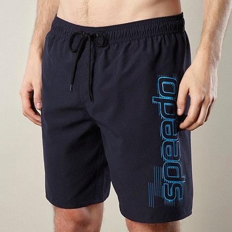 Speedo - Navy graphic side logo swim shorts