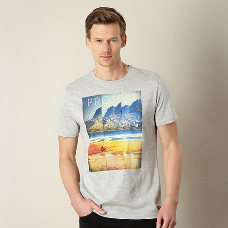 Protest - Grey distorted island scene t-shirt