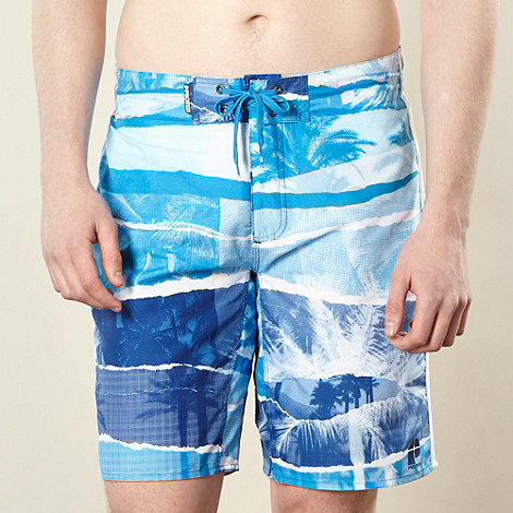 Protest - Blue horizontal panel palm printed swim shorts
