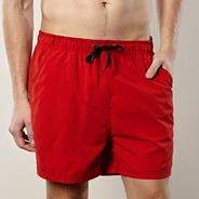 Big and tall red plain swim shorts