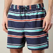 Blue horizontal striped swim shorts