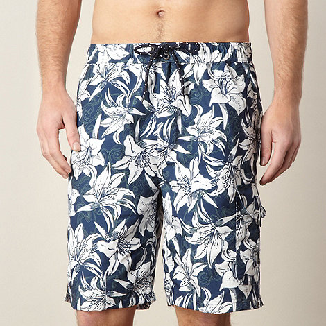 Maine New England - Navy floral cargo swim shorts