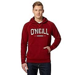 O'Neill - Wine slim fit logo flock hoodie