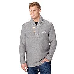 Weird Fish - Grey macaroni textured button neck sweatshirt