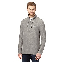 Weird Fish - Big and tall grey macaroni textured zip neck sweatshirt